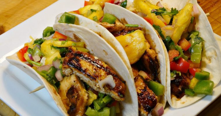 Grilled Teriyaki Chicken Tacos Topped With Pineapple Salsa