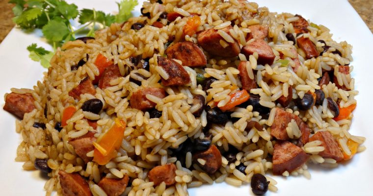 10 Minute One-Pot Rice And Beans Sausage