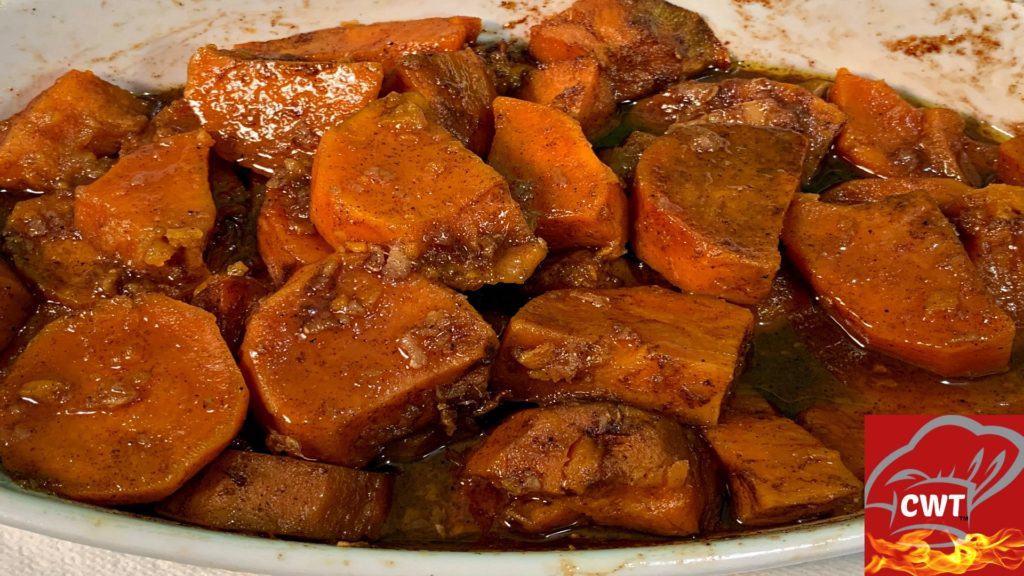 Southern Candied Yams Recipe that's so delicious and perfect for any dinner table. Perfectly baked tender, sweet and buttery flavored candied yams with a hint of ginger, nutmeg, vanilla and cinnamon spice, creating a delicious melt in your mouth effect.