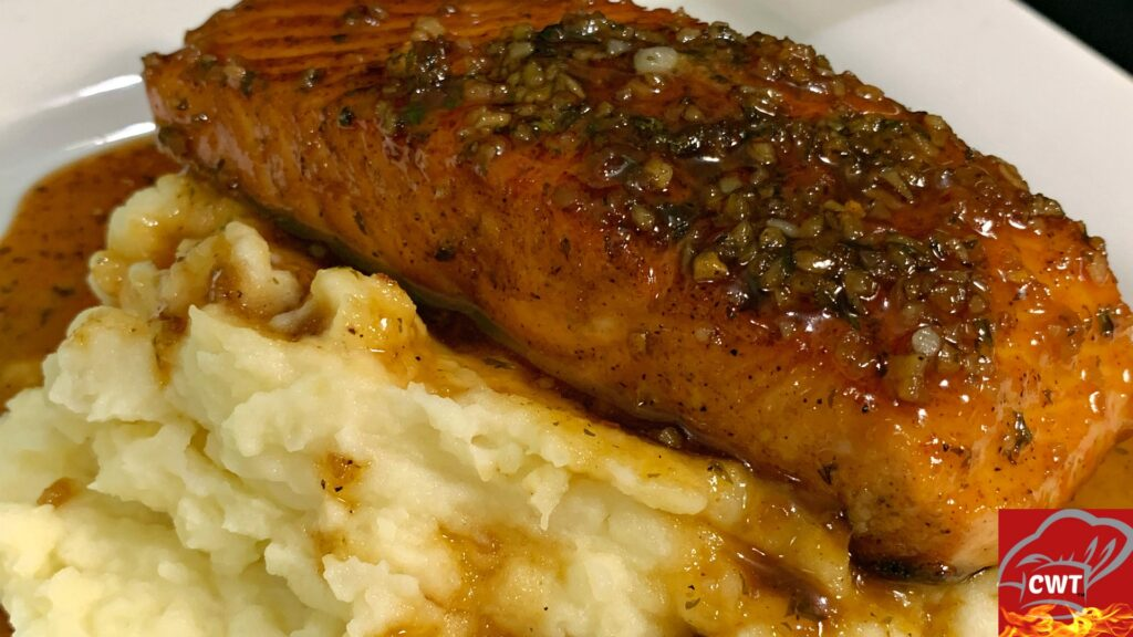 Honey Garlic Salmon Recipe and Roasted Garlic Mashed Potatoes