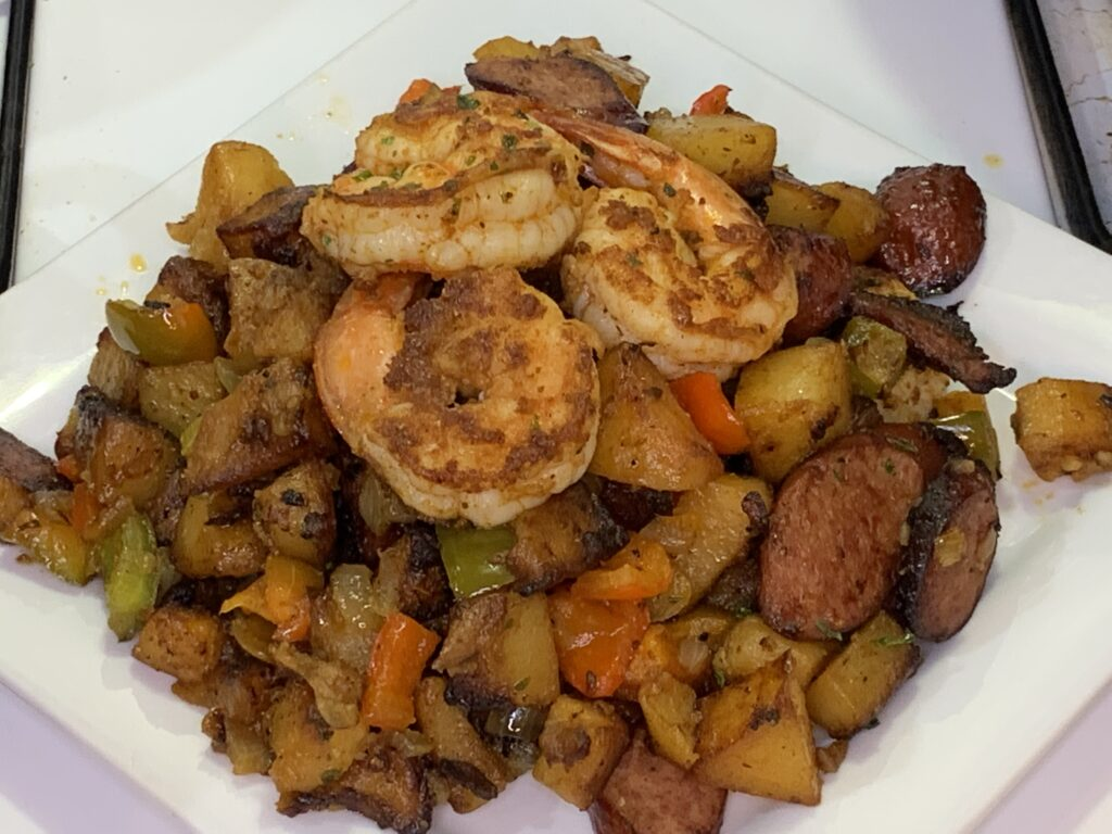 Shrimp Sausage Potato Skillet