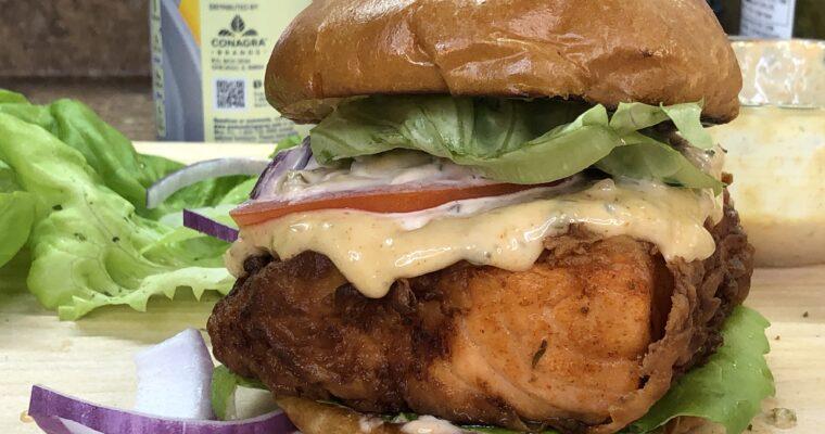 Fried Buttermilk Salmon Burger