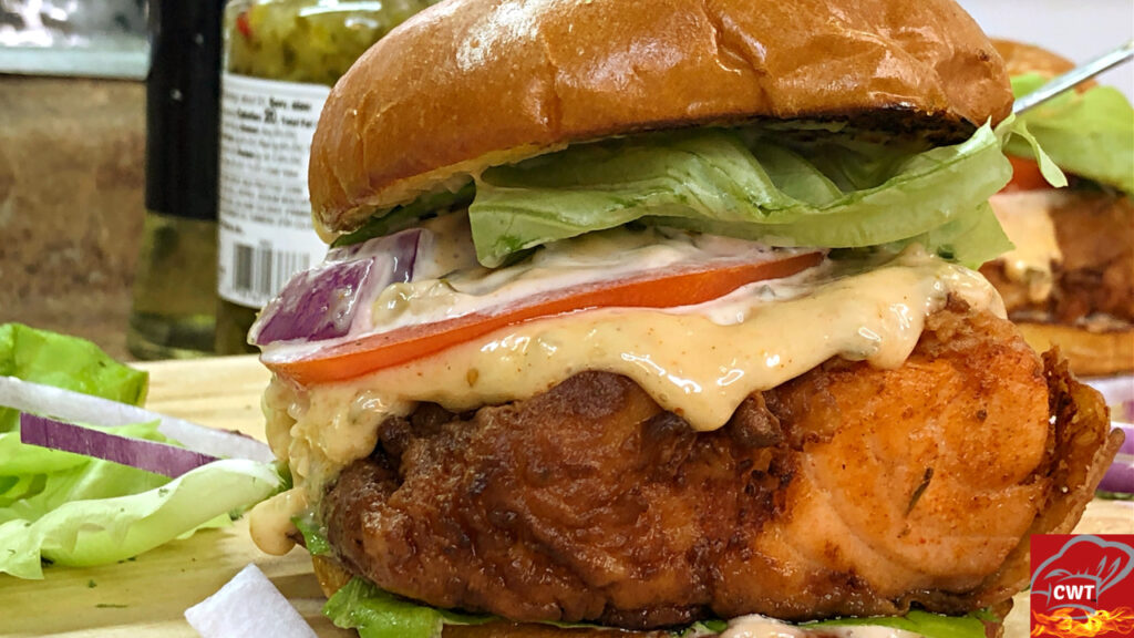 Fried Buttermilk Salmon Burger
